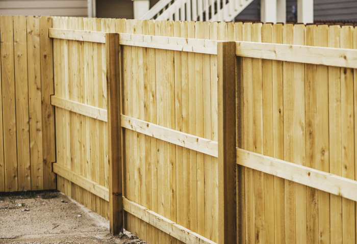 Newly installed fencing in back yard